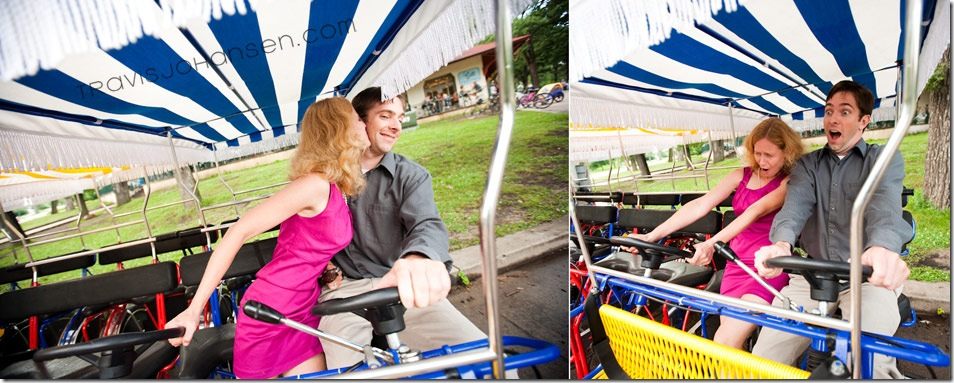 Minneapolis Engagement Session on bike scooters