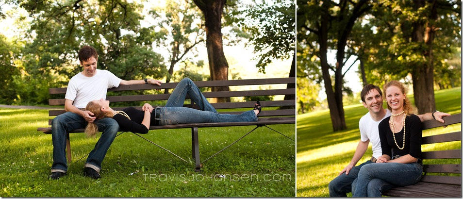 Couple sitting on park bench at Minnehaha Falls for a Minneapolis Engagement Session