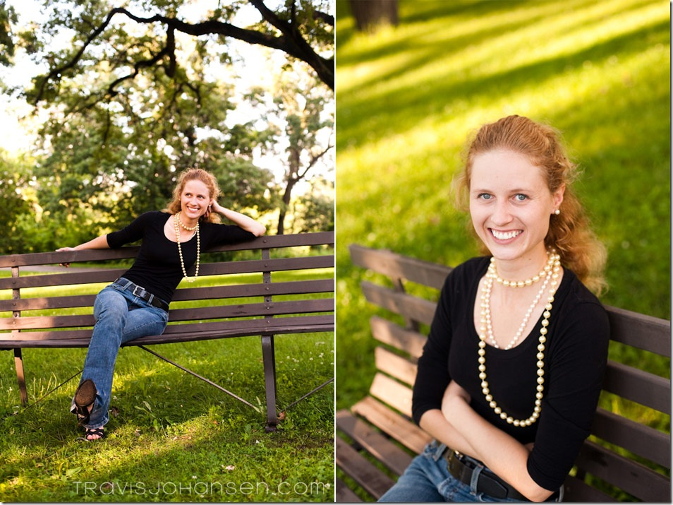 Marah Relaxing for her photos at Minnehaha Falls for a Minneapolis Engagement Session