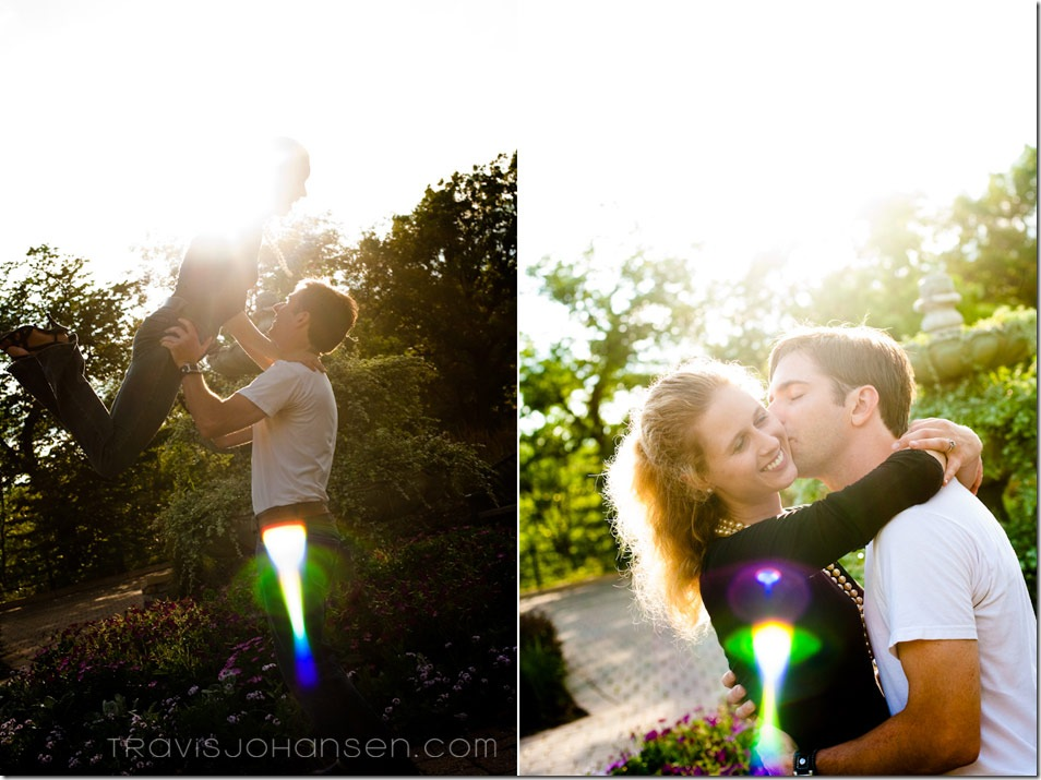 A couple having fun during their Minneapolis Engagement Session at Minnehaha Falls