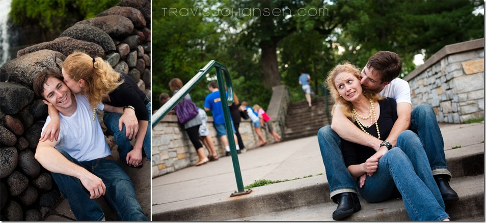 Minneapolis Wedding Photographer shoots an Engagement Session with these photos right above the falls.