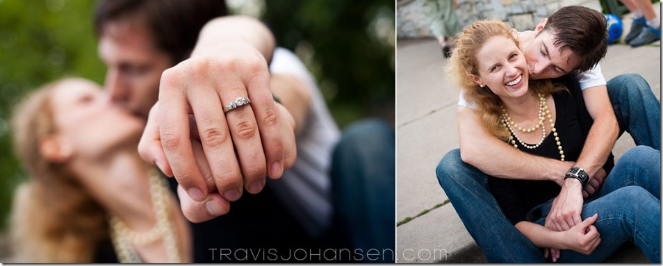 Close up of a wedding ring as a Minneapolis Wedding Photographer shoots an Engagement Session