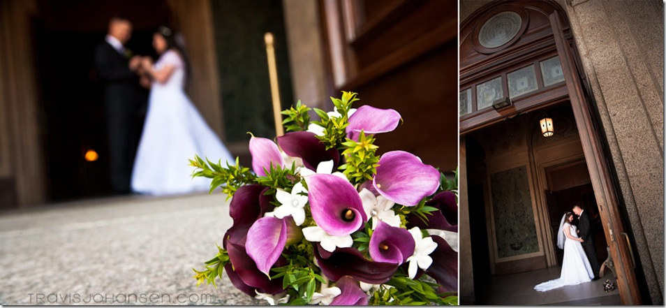 brides boquet with pink orchids with green accents and large doors of the St. Paul MN Cathedral