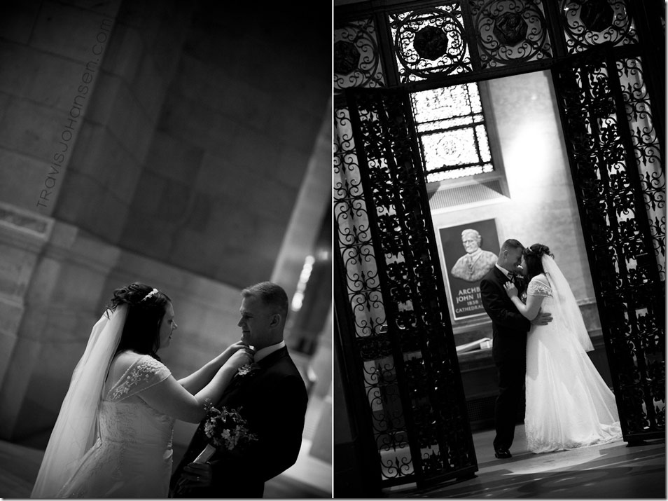 black and white BW photo of a bride and groom on their wedding day at the St. Paul Cathedral in Minnesota (wedding)