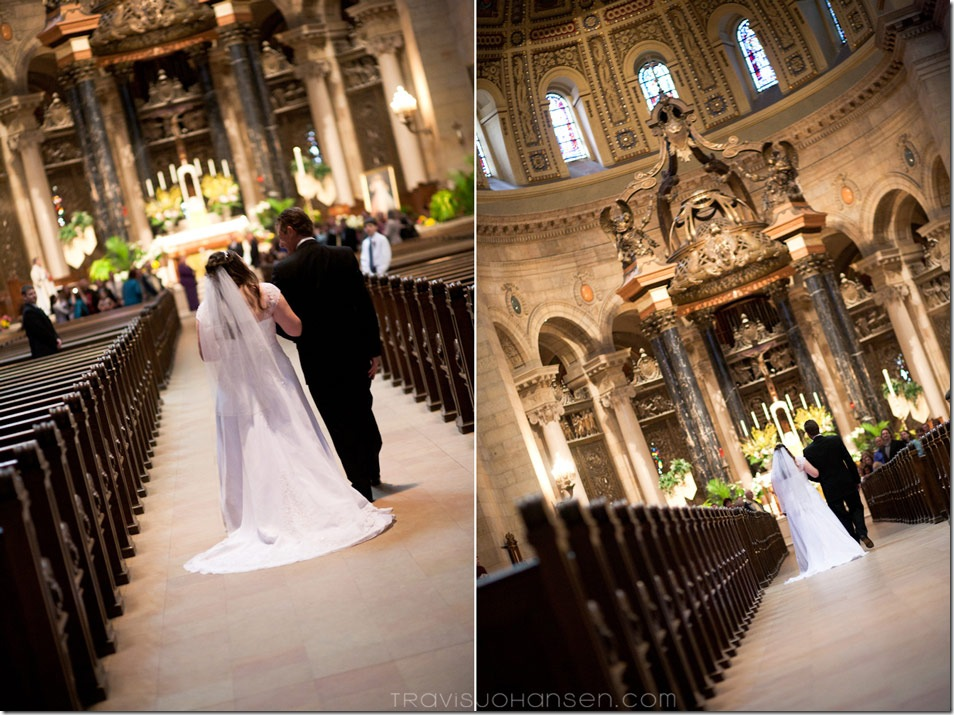 photo of walking down the wedding aisle at the St. Paul Minnesota Catholic Cathedral wedding.